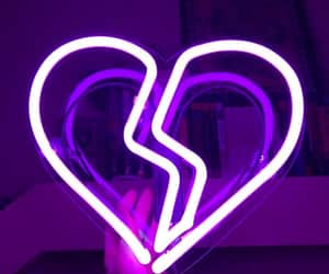 neon, heart, and purple image