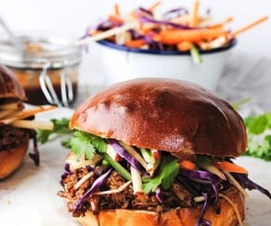 burger, food, and pulled pork image