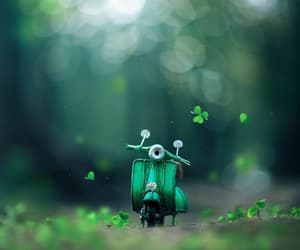 green, forest, and motorcycle image