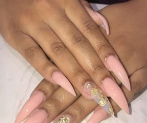 nails, gold, and long image