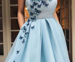 blue, dress, and butterfly image