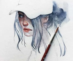 aesthetic, girl, and watercolor image