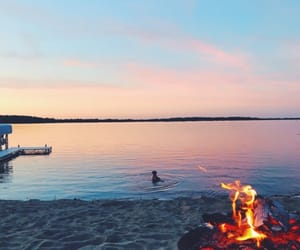 beach, fire, and goals image