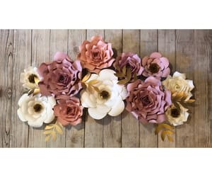 backdrop, paper flowers, and paper roses image