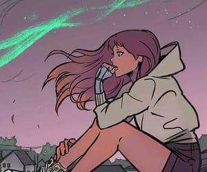 girl, starfire, and art image