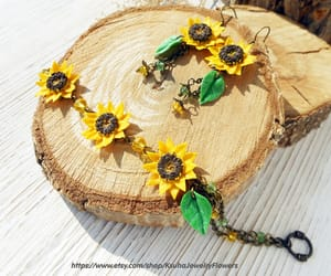 summer jewelry, sunflower earrings, and earrings polymer clay image