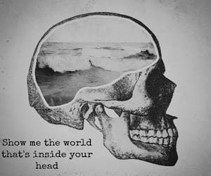 world, skull, and head image