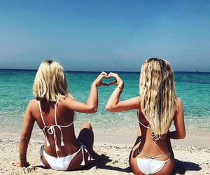 beach, best friends, and blondes image