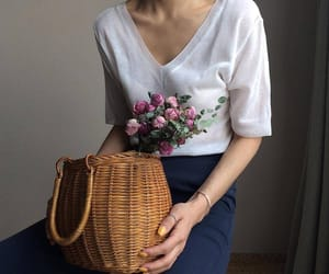 bag, straw, and t-shirt image
