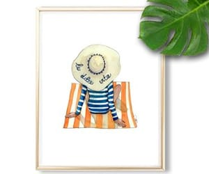 floppy hat, stripes, and watercolor image