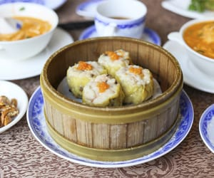 dim sum, singapore, and steamed image