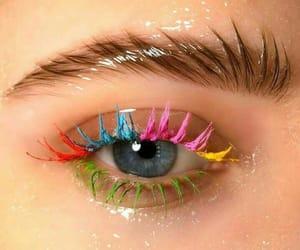 makeup, eye, and rainbow image