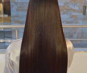 brunette, hairstyle, and long hair image