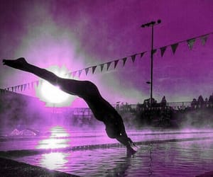 purple, swimming, and sun image