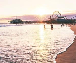 beach, monica, and santa image