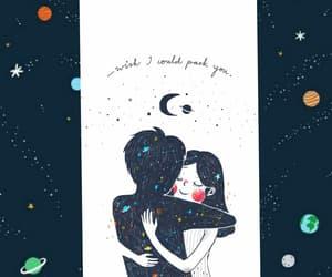 couple, space, and hug image