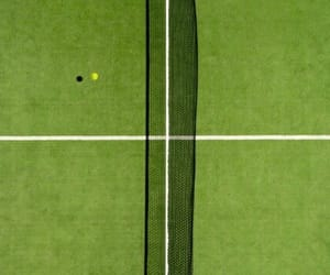 green, tennis ball, and tennis court image