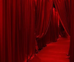 red, aesthetic, and curtains image
