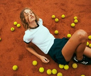 ball, tennis court, and tennis ball image