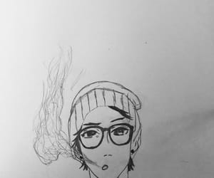 anime, glasses, and beanie image
