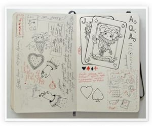 book, diary, and doodle image