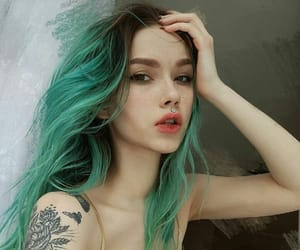 tattoo, girl, and green hair image