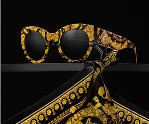 black, sunglasses, and gold image