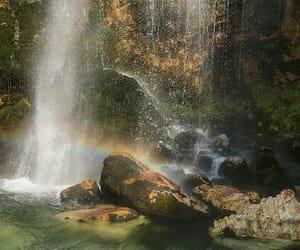 nature, waterfall, and rainbow image