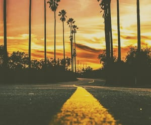 road, sunset, and yellow image