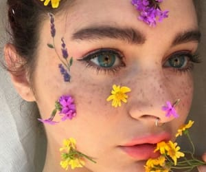 beauty, flowers, and eyes image