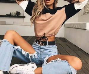 fashion, ripped jeans, and girl image