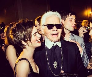 karl lagerfeld and lily collins image
