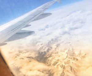 airplane, sky, and traveling image