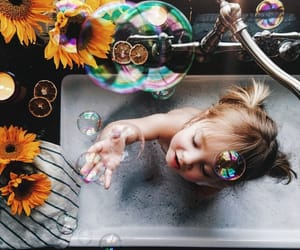 bath, bubbles, and girl image