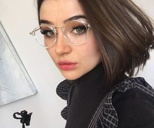 short hair, girls, and glasses image