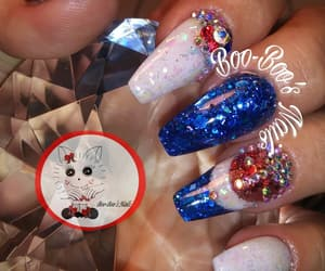 red white and blue, red glitter, and acrylic nails image