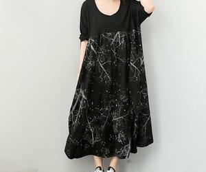 black top, etsy, and long black dress image