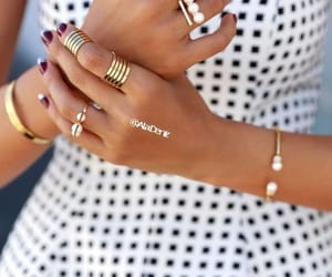 bracelets, dress, and nailpolish image
