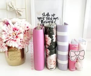 flowers, pink, and stationery image