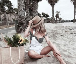 beach, flowers, and fashion image