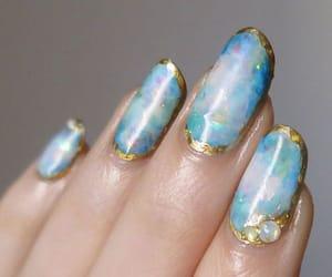 blue nails, girl, and nails image