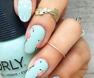 nails and flamingo image