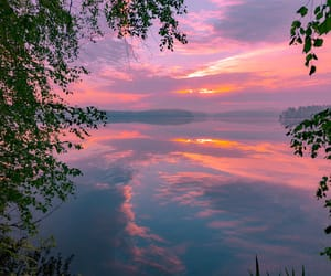 beach, pink, and sunrise image