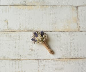 rustic wedding, wedding boutonniere, and purple corsage lapel image