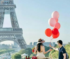 balloon, couple, and eifel image