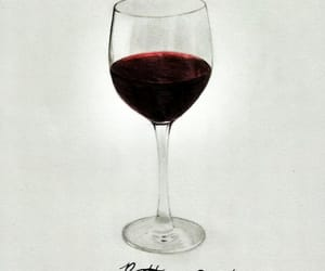 drawing, wine, and glass of wine image
