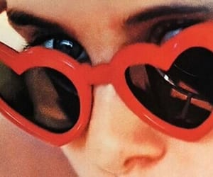 heart glasses, sunglasses, and red image