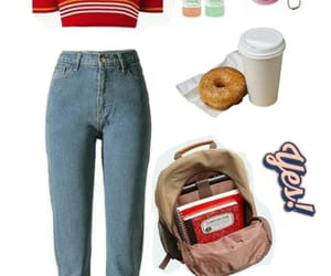 backpack, bagel, and jean image