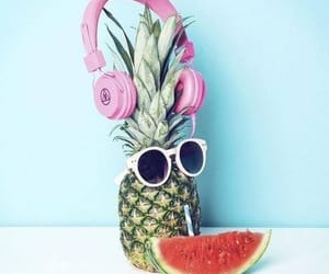 summer, watermelon, and headphones image