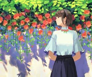 anime girl, light, and red image
